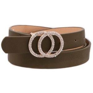 Olive Rhinestone ring buckle belt…